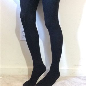 American Eagle Outfitters Accessories - Solid Black Striped Winter Wooly Hosiery Stockings